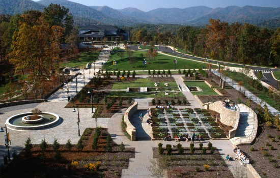 Construction was completed in 1996 on the main gardens including the Quilt, Stream and Spring Gardens as the major elements featuring Southern Appalachian history and culture.