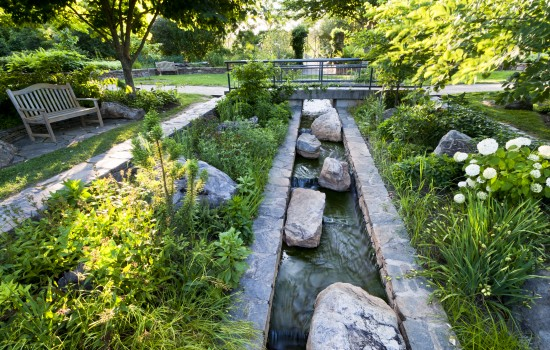 The Stream Garden demonstrates a streamside plant community that reflects the region's natural heritage in a formal setting. Trees, shrubs and perennials are planted around an abstract representation of a mountain stream course.